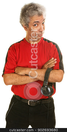 Skeptical Mature Man stock photo, Skeptical Arab man with arms folded over white background by Scott Griessel