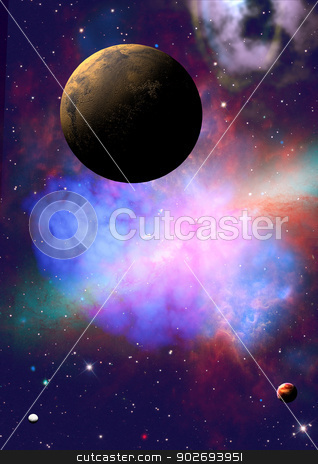 Far-out planets in a space stock photo, Far-out planets in a space against stars. by Anatolii Vasilev