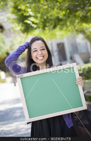 Excited Mixed Race Female Student Holding Blank Chalkboard stock photo, Portrait of An Attractive Excited Mixed Race Female Student Holding Blank Chalkboard and Carrying Backpack on School Campus. by Andy Dean