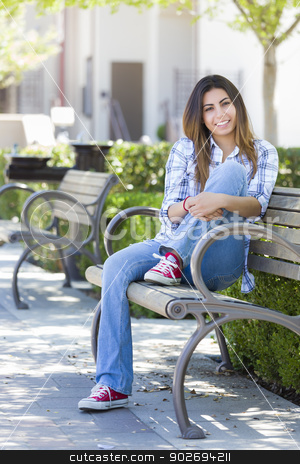Mixed Race Female Student Portrait on School Campus Bench stock photo, Happy Mixed Race Female Student Portrait on School Campus Bench. by Andy Dean