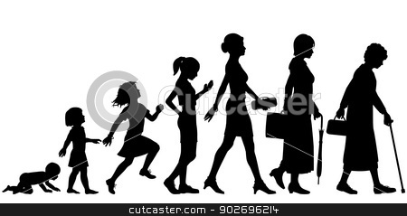 Ages of woman stock vector clipart, Editable vector silhouettes of different stages of a woman's life by Robert Adrian Hillman