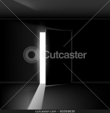 Open door stock photo, Open door with light. Illustration on empty background by dvarg