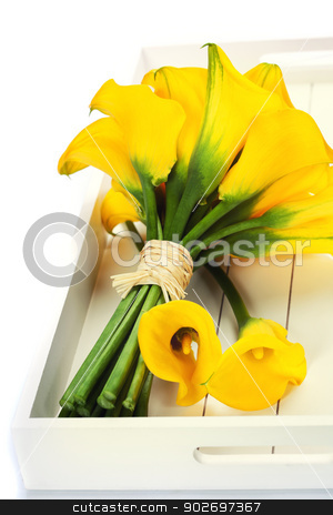 Beautiful calla lilies bouquet stock photo, Beautiful calla lilies bouquet on a tray by klenova