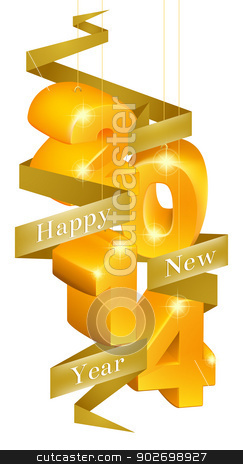 Happy New Year 2014 Ornaments stock vector clipart, Orange and gold happy new year 2014 ornaments with a ribbon reading happy new year by Christos Georghiou