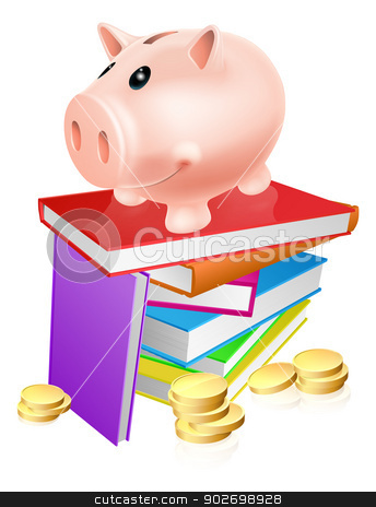 Piggy bank on books stock vector clipart, A piggy bank standing on a stack of books and surrounded by coins. Concept for eduction savings or other literacy related budget theme by Christos Georghiou