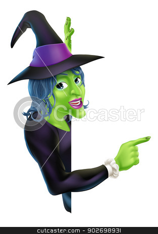 Halloween Witch Pointing stock vector clipart, An illustration of a friendly cartoon Halloween witch character peeking round a banner and pointing  by Christos Georghiou
