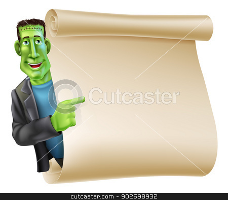 Halloween Frankenstein Scroll Banner stock vector clipart, An illustration of a Halloween Frankenstein character peeping round a scroll sign or banner and pointing at it by Christos Georghiou