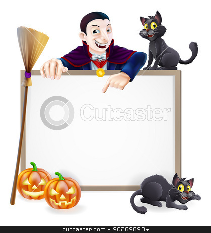 Dracula Halloween Sign stock vector clipart, A Halloween sign with a classic Dracula vampire character pointing down and witch's black cats, broomstick and Halloween carved orange pumpkins by Christos Georghiou