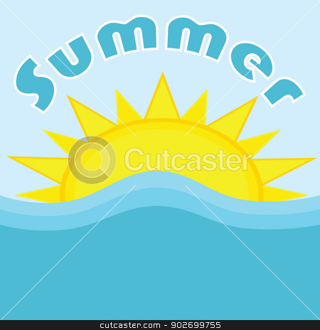 Summer stock vector clipart, Illustration of the sun and waves in the ocean, with the word summer written on top by Bruno Marsiaj