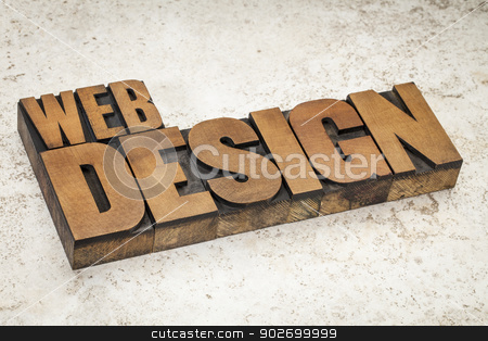 web design in wood type stock photo, web design  text in vintage letterpress wood type on a ceramic tile background by Marek Uliasz