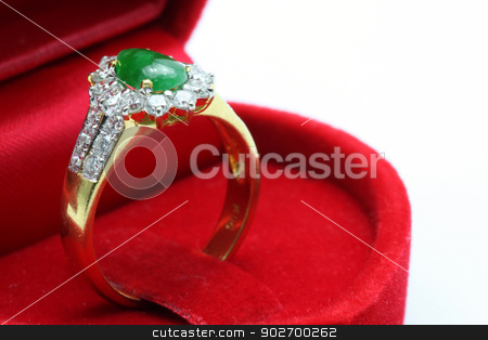 Jade Diamond Ring stock photo, Macro shot of Luxury Wedding Jade Diamond Ring in Red Box by Vichaya Kiatying-Angsulee