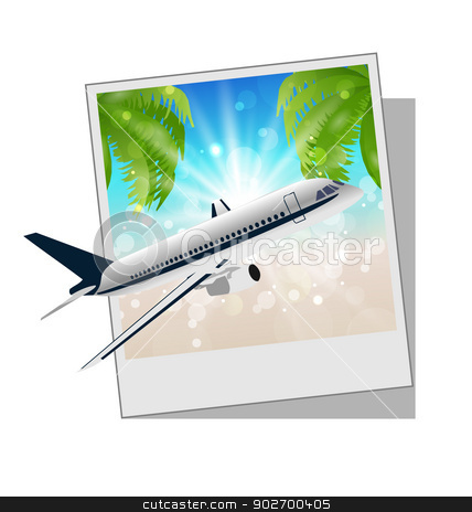 Photo frame with seaside and plane stock vector clipart, Illustration photo frame with seaside and plane - vector by -=Mad Dog=-