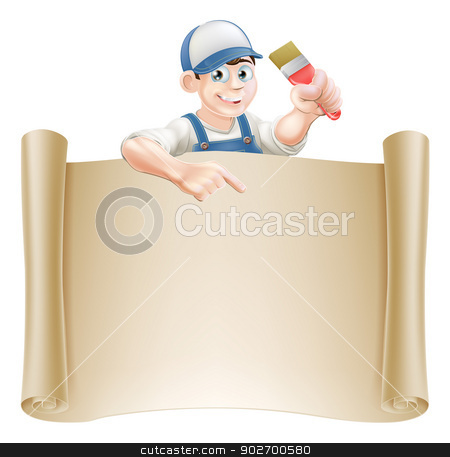 Paintbrush guy and scroll stock vector clipart, A painter decorator holding a paintbrush and peeking over a scroll banner and pointing by Christos Georghiou