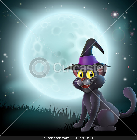Halloween full moon witch cat stock vector clipart, Illustration of a Halloween witch cat in a pointy hat  in front of a big full moon on a misty night by Christos Georghiou