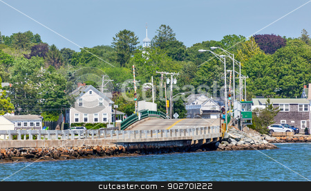 Padnaram Village Bridge Church Steeple and Harbor Dartmouth Mass stock photo, Padnaram Village Harbor Bridge Church Steeple,  Buzzards Bay Dartmouth Masschusetts     by William Perry