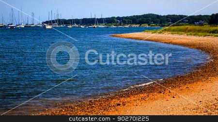 Padnaram Harbor with Boats Beach Dartmouth Massachusetts stock photo, Padnaram Harbor and Beach Boat Sailboats Motor Boats Buzzards Bay Dartmouth Masschusetts     by William Perry