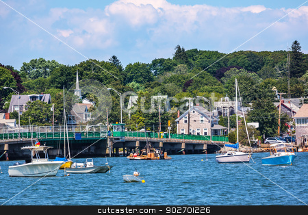 Padnaram Bridge and Harbor with Boats Piers Dartmouth Massachuse stock photo, Padnaram Harbor Bridge Church Steeple, Docks, Piers Boats, Schooner, Buzzards Bay Dartmouth Masschusetts     by William Perry
