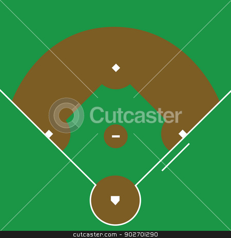 Baseball diamond stock vector clipart, Illustration of an overhead view of a baseball diamond  by Bruno Marsiaj