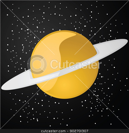 Planet stock vector clipart, Glossy illustration of an orange planet with a ring around it by Bruno Marsiaj