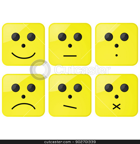 Faces stock vector clipart, Glossy illustration of different faces showing different emotions by Bruno Marsiaj