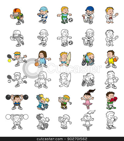 Cartoon people playing sports stock vector clipart, A set of cartoon cartoon people or children playing sports. Color and black an white outline versions. by Christos Georghiou