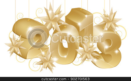 Gold Christmas 2013 Ornaments stock vector clipart, Gold Christmas decorations or Christmas tree baubles reading 2013 by Christos Georghiou