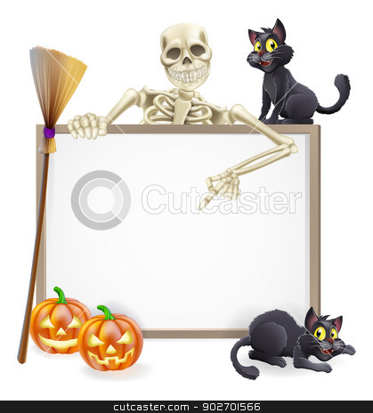 Skeleton Halloween Sign stock vector clipart, A Halloween sign with a classic skeleton character pointing down and witch's black cats, broomstick and Halloween carved orange pumpkins by Christos Georghiou