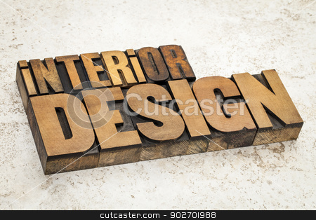 interior design in wood type stock photo, interior design  text in vintage letterpress wood type on a ceramic tile background by Marek Uliasz