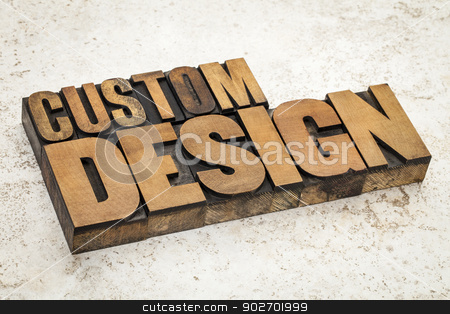 custom design in wood type stock photo, custom design  text in vintage letterpress wood type on a ceramic tile background by Marek Uliasz