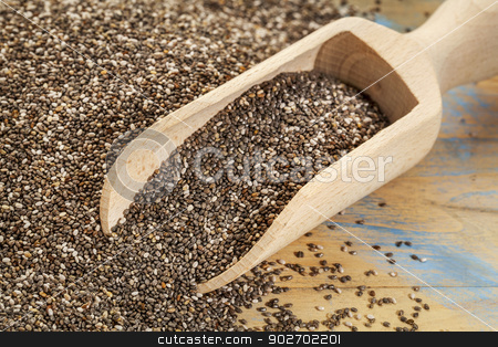 scoop of chia seeds stock photo, background and scoop of chia seeds on wooden surface by Marek Uliasz
