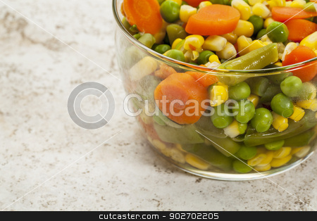 cooked vegetable mix stock photo, mix of cooked vegetables (carrot, green pea, bean, corn) in a glass bowl by Marek Uliasz