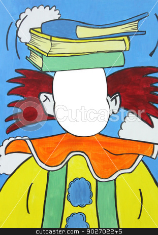 Abstract clown background stock photo, Abstract background of colorful painted clown with blank face and copy space. Original artwork painting. by Martin Crowdy