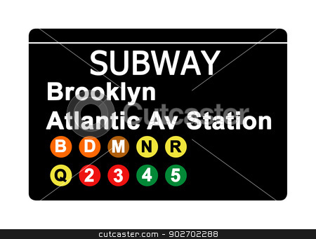 Brooklyn Atlantic Avenue Station subway sign stock photo, Brooklyn Atlantic Avenue Station subway sign isolated on white, New York city, U.S.A. by Martin Crowdy