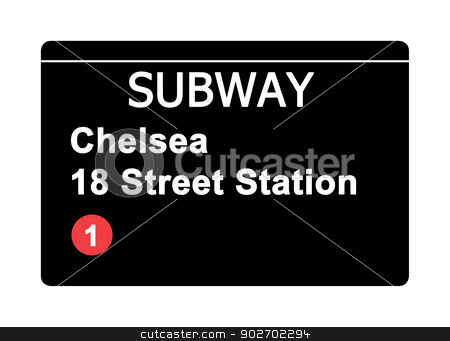 Chelsea 18 Street Station subway sign stock photo, Chelsea 18 Street Station subway sign isolated on white, New York city, U.S.A. by Martin Crowdy