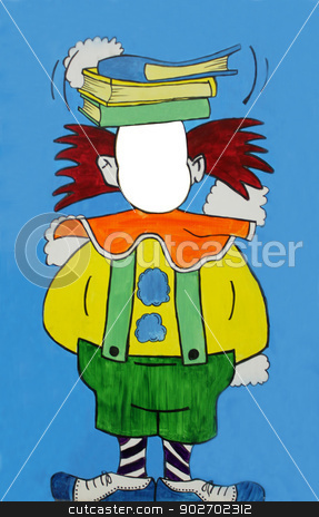 Cutout circus clown stock photo, Painting of cutout circus clown with white copy space for you to add face in. Original artwork. by Martin Crowdy