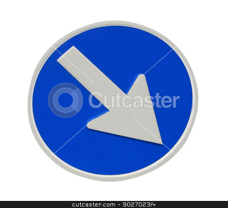 Directional arrow sign stock photo, Directional arrow sign isolated on a white background. by Martin Crowdy