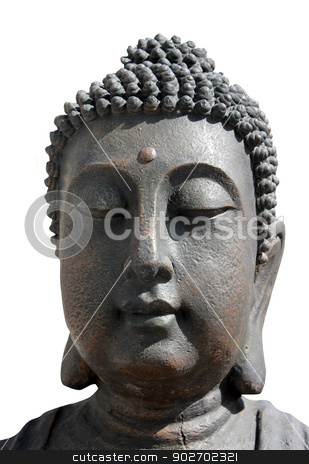 Face of Buddha statue stock photo, Face of Buddha on statue outdoors, isolated on white background. by Martin Crowdy