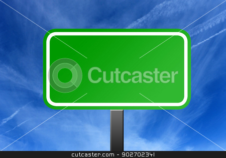 Highway sign and cloudscape stock photo, Blank green highway sign with blue sky and cloudscape background. by Martin Crowdy