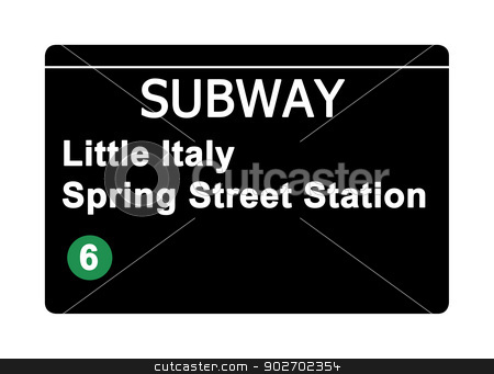 Little Italy Spring Street Station subway sign stock photo, Little Italy Spring Street Station subway sign isolated on white, New York city, U.S.A. by Martin Crowdy