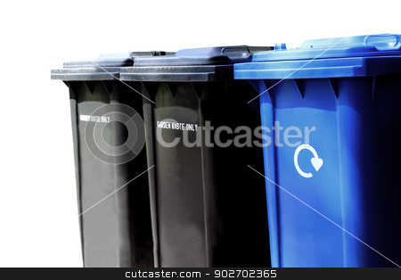 Recycling waste bins stock photo, Recycling waste bins isolated on white background with copy space. by Martin Crowdy