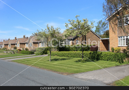 Row of bungalow houses stock photo, Row of bungalow houses, Scalby Village, England. by Martin Crowdy