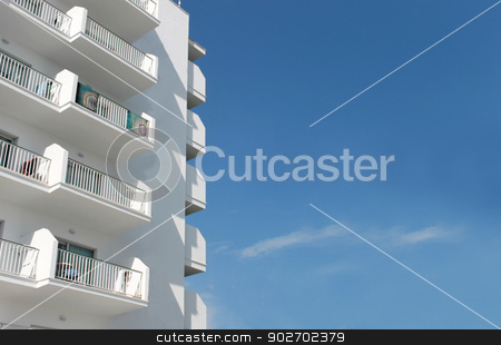 Spanish tourist hotel 2 stock photo, White Spanish tourist hotel, Majorca, Spain. by Martin Crowdy