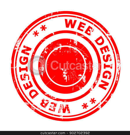 Web Design concept stamp stock photo, Web Design concept stamp isolated on a white background. by Martin Crowdy