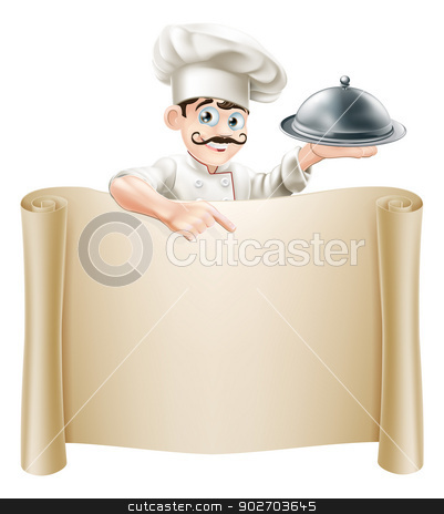 Chef Menu Scroll stock vector clipart, A cartoon chef character holding a silver platter or cloche pointing at a scroll or menu by Christos Georghiou