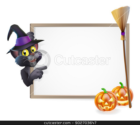 Halloween Black Cat Sign stock vector clipart, Illustration of a Halloween black witch's cat sign background by Christos Georghiou