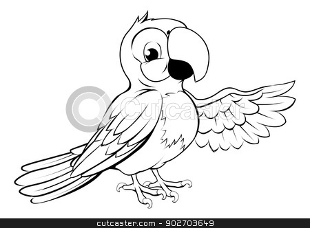 Happy cartoon parrot stock vector clipart, Black and white illustration of a happy cartoon parrot pointing its wing by Christos Georghiou