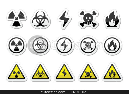 Danger, risk, warning icons set stock vector clipart, Vector attention labels set isolated on white by Agnieszka Murphy