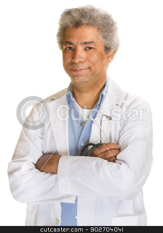 Confident Mature Doctor stock photo, Confident mature doctor with stethoscope on white background by Scott Griessel