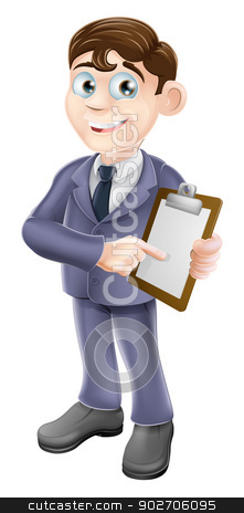 Businessman holding survey or clipboard stock vector clipart, A cartoon illustration of a businessman holding survey or clipboard by Christos Georghiou