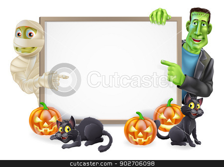 Halloween Sign with Mummy and Frankenstein stock vector clipart, Halloween sign or banner with orange Halloween pumpkins and black witch's cats, witch's broomstick and cartoon Frankenstein monster and mummy characters by Christos Georghiou